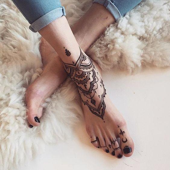 Black Henna On Feet